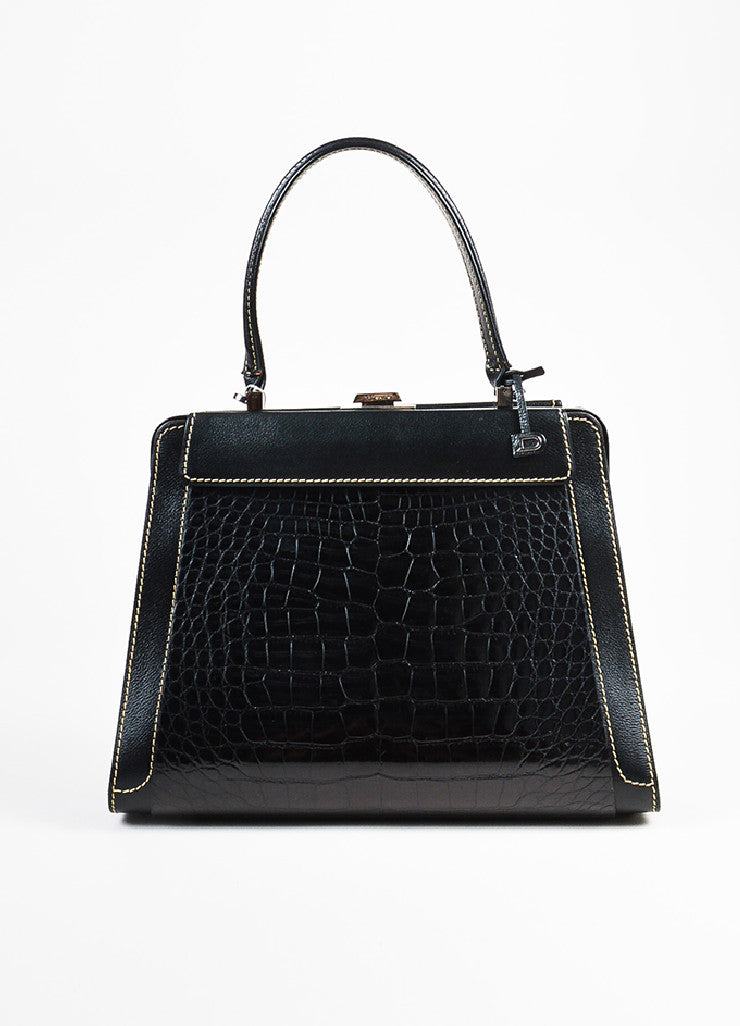 "Delvaux Black, Brown, and Cream Alligator Leather Changeable Panel ""Illusion"" Bag Frontview 2"