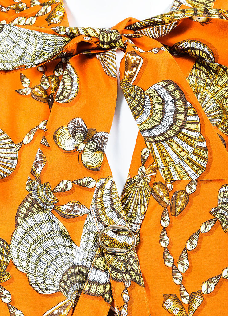 Gucci Orange and Brown Silk Shell Printed Neck Tie Short Sleeve Shift Dress Detail