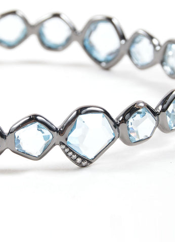 "Ippolita Black Rhodium, Blue Topaz, and Diamond ""Mini Hero"" Bangle Bracelet Detail"