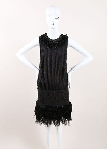 J. Mendel Black Bead and Feather Leather Applique Embellished Sleeveless Shift Dress Frontview