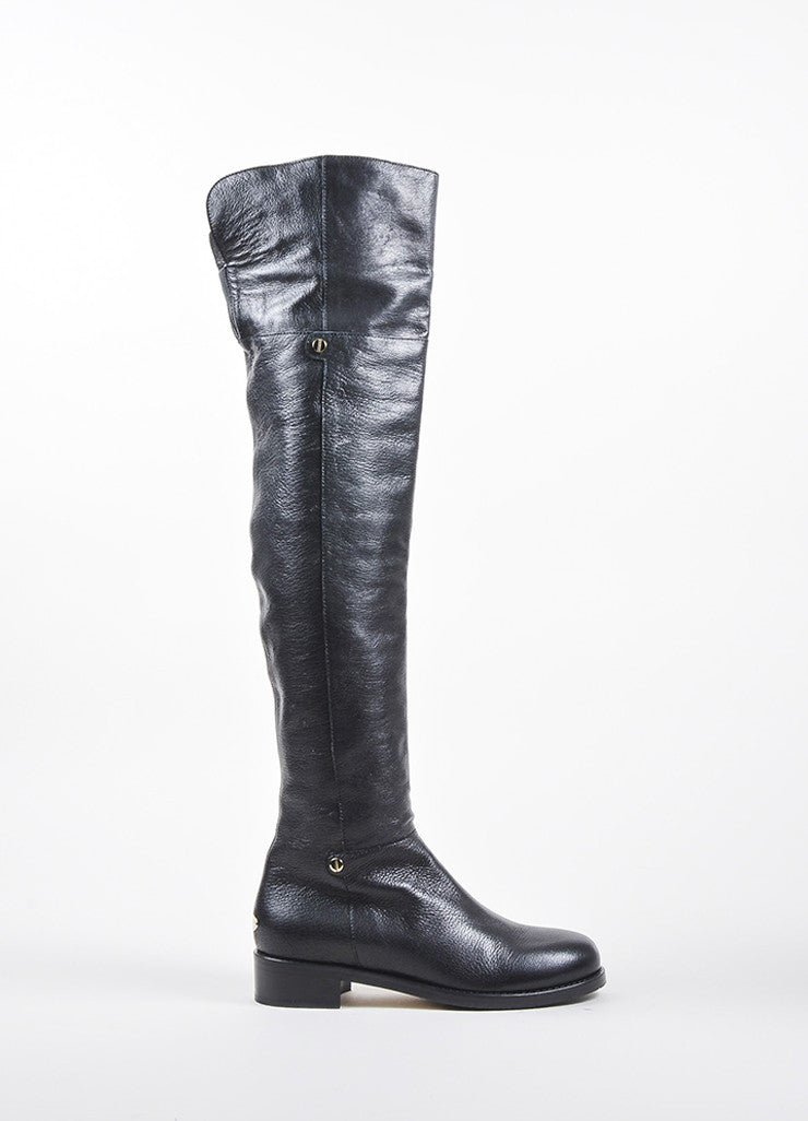 "Black Shiny Leather Jimmy Choo Over the Knee ""Deron"" Boots Sideview"