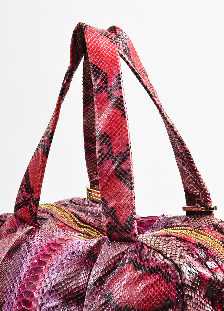Pink Red Jimmy Choo Python Snakeskin Bowler Bag Purse Detail 3