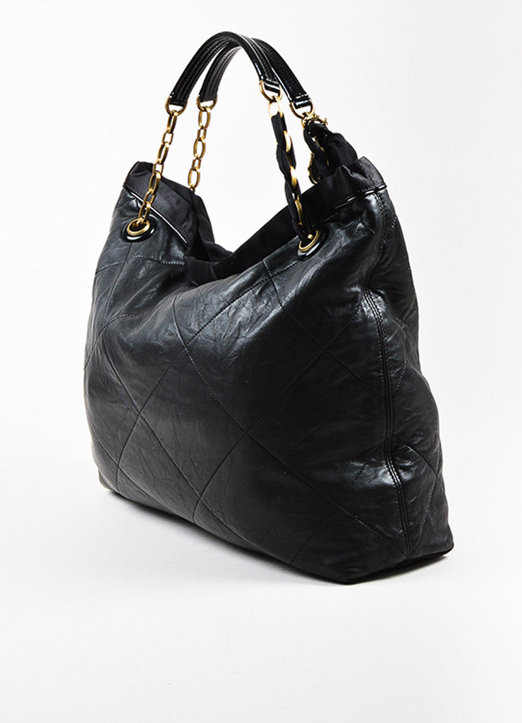 "Lanvin Black Quilted Leather Chain Ribbon Handle ""Amalia"" Shoulder Tote Bag Sideview"