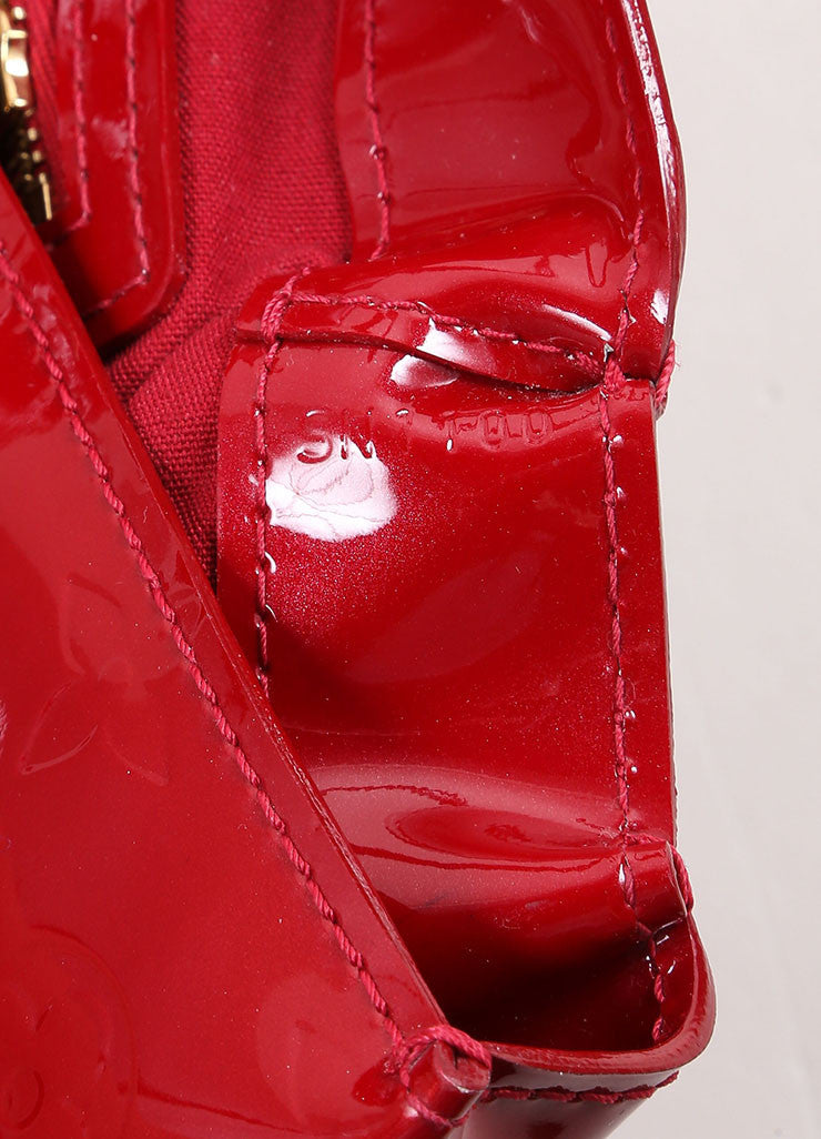 "Louis Vuitton Red Vernis Monogram Patent Leather ""Wilshire PM"" Satchel Handbag Detail 3"