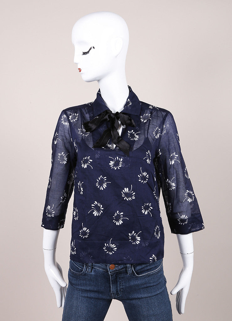 Marc Jacobs New With Tags Navy and White Floral Print Quarter Sleeve Cotton Blouse Frontview