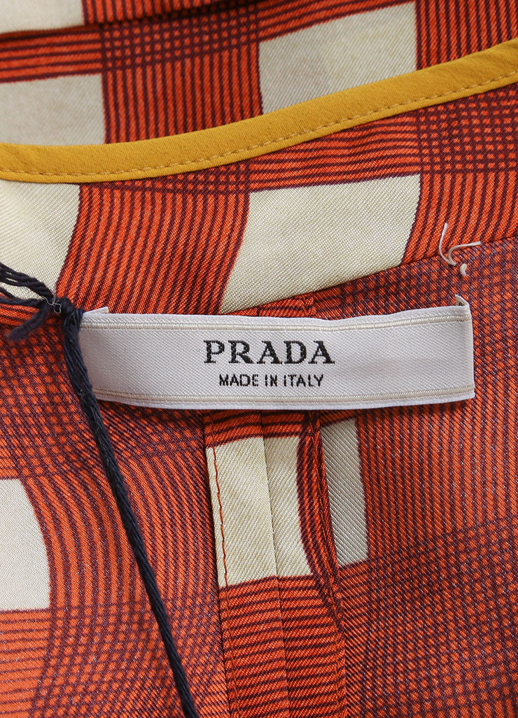 Prada Red, Cream, and Yellow Silk Plaid Patterned Pleated Short Sleeve Dress Brand