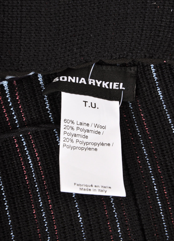 Sonia Rykiel New With Tags Black, Blue, and Pink Stripe Wool Blend Fringe Trim Scarf Brand
