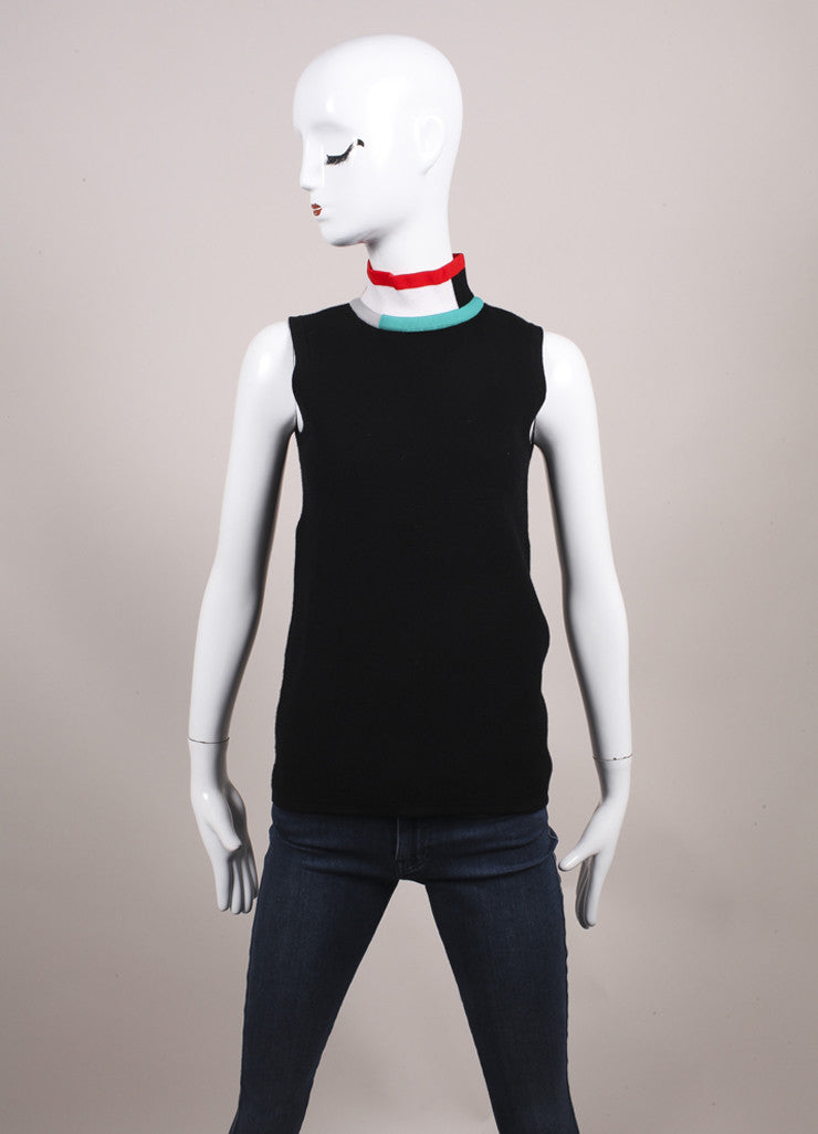 Derek Lam New With Tags Black and Multicolor Color Block Mock Turtleneck Sleeveless Top Frontview