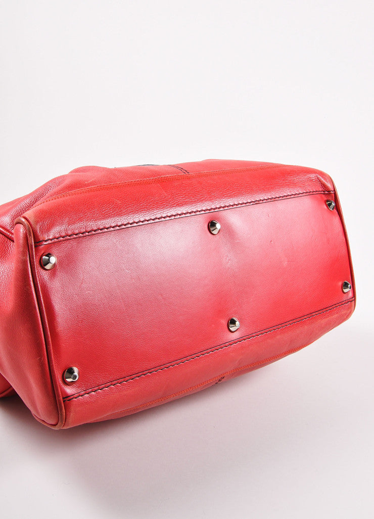 Balenciaga Red and Silver Toned Turnlock Clasp Grained Leather Shoulder Bag Bottom View