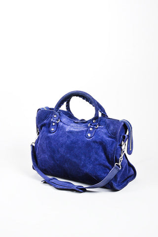 "Sapphire Blue Balenciaga Suede Leather ""Classic City"" Satchel Bag Sideview"