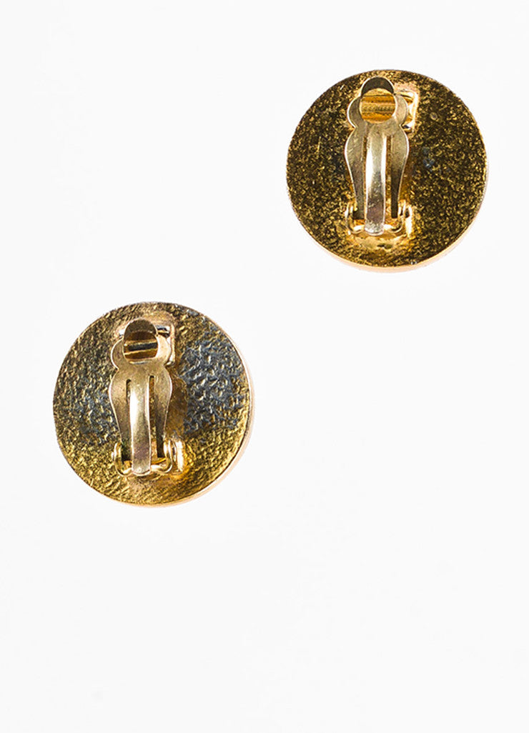 Chanel Gold Toned and Black Enamel Coated 'CC' Round Clip On Earrings Backview