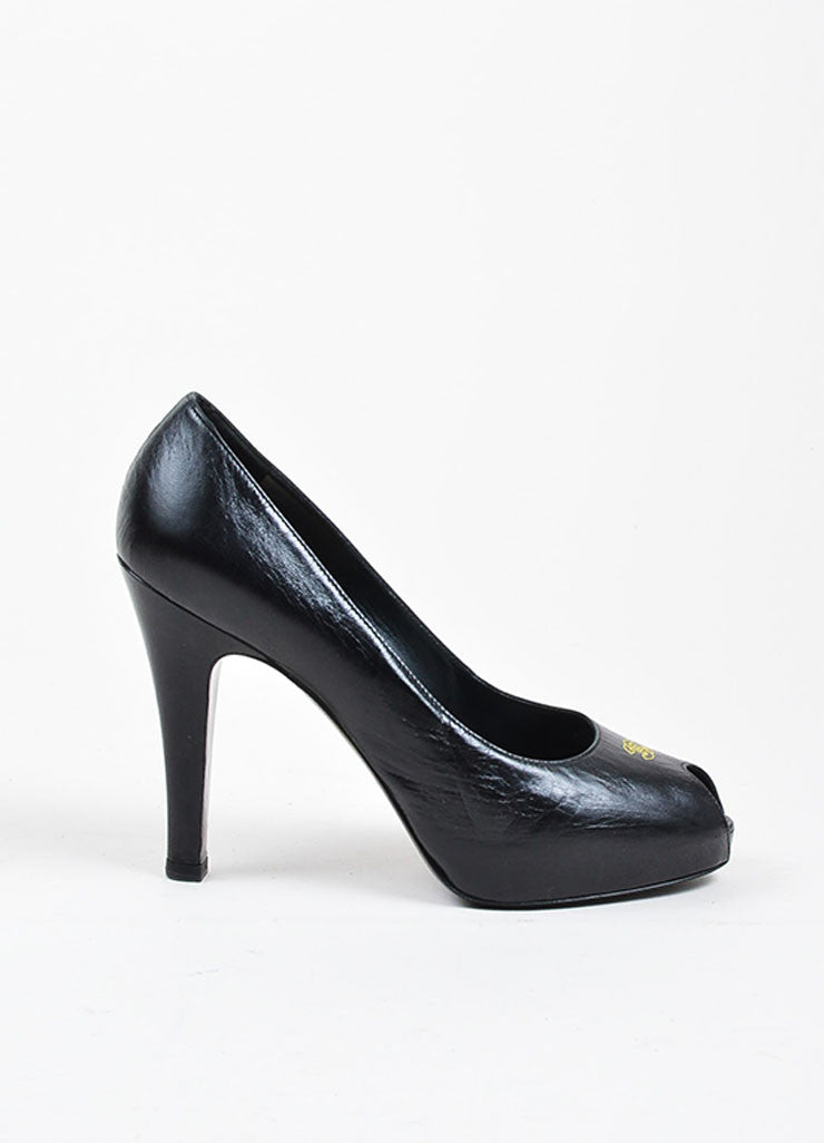 Black and Yellow Leather Chanel 'CC' Peep Toe Platform Pumps Sideview