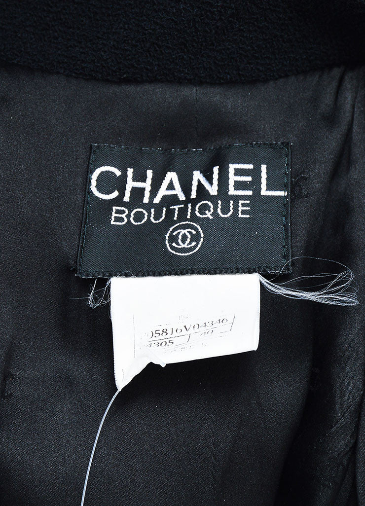 Black Chanel Wool Double Breasted Buttoned Jacket Brand