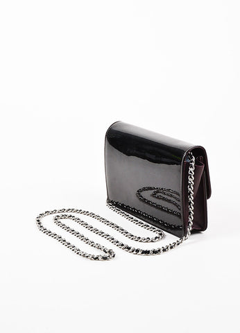 "Chanel Eggplant Patent Leather Silver Toned Metal Chain ""WOC"" Flap Shoulder Bag Sideview"