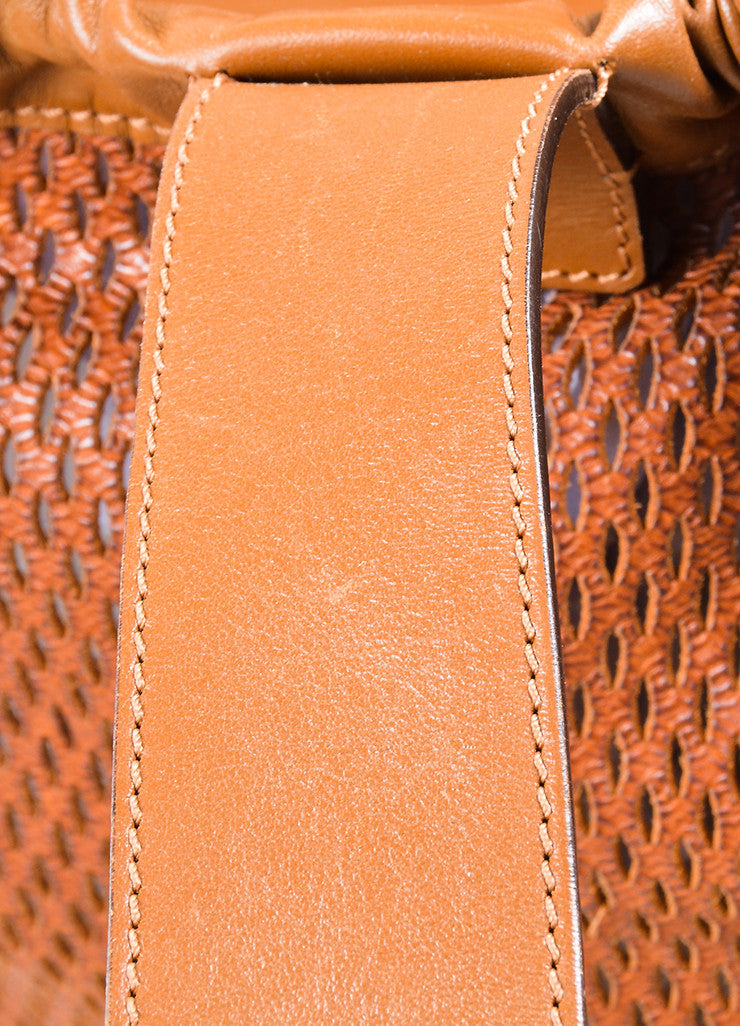 "Brown Chloe Perforated Leather ""Charlie"" Drawstring Sling Bag Detail 2"