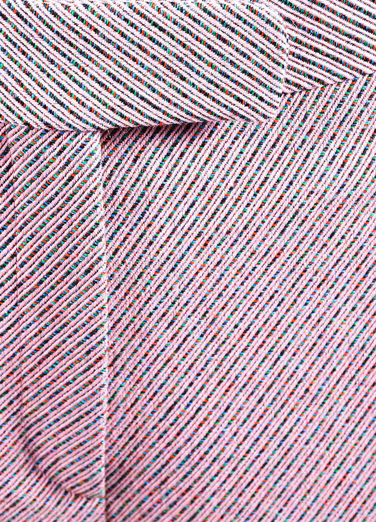 Pink Multicolor Christian Dior Wool Stripe Wide Leg Trouser Pants Detail