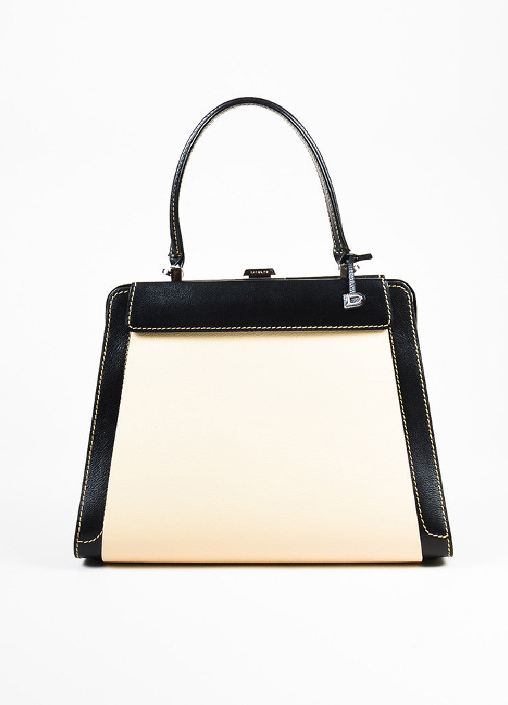 "Delvaux Black, Brown, and Cream Alligator Leather Changeable Panel ""Illusion"" Bag Frontview 3"