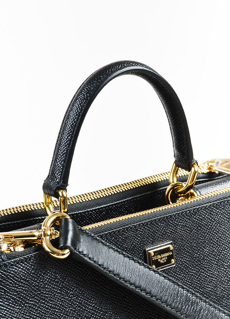 Dolce & Gabbana Black Leather GHW Structured Multi Compartment Shoulder Bag Detail 2