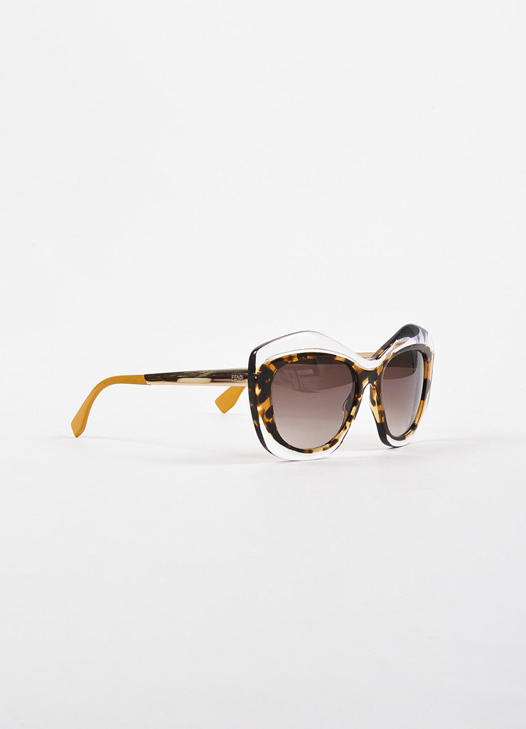 "Fendi Translucent Tortoise Gold Toned Retro Cat Eye ""OO29 S"" Sunglasses Sideview"