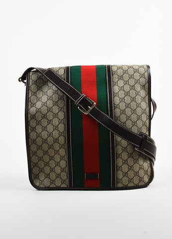 "Brown Green Red Coated Gucci Canvas Monogram ""Medium Messenger"" Bag Front"