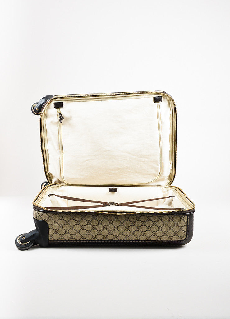 "Gucci Brown and Tan Coated Canvas ""GG Supreme Four Wheel Carry On"" Suitcase Interior"