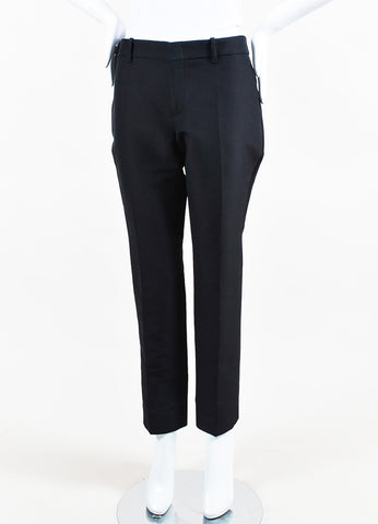 Black Gucci Cotton Straight Leg Crop Trouser Pants Front 2