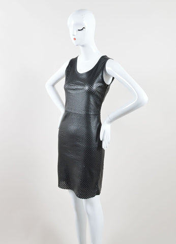 Jean Paul Gaultier Black Lamb Leather Perforated Sleeveless Sheath Dress Sideview