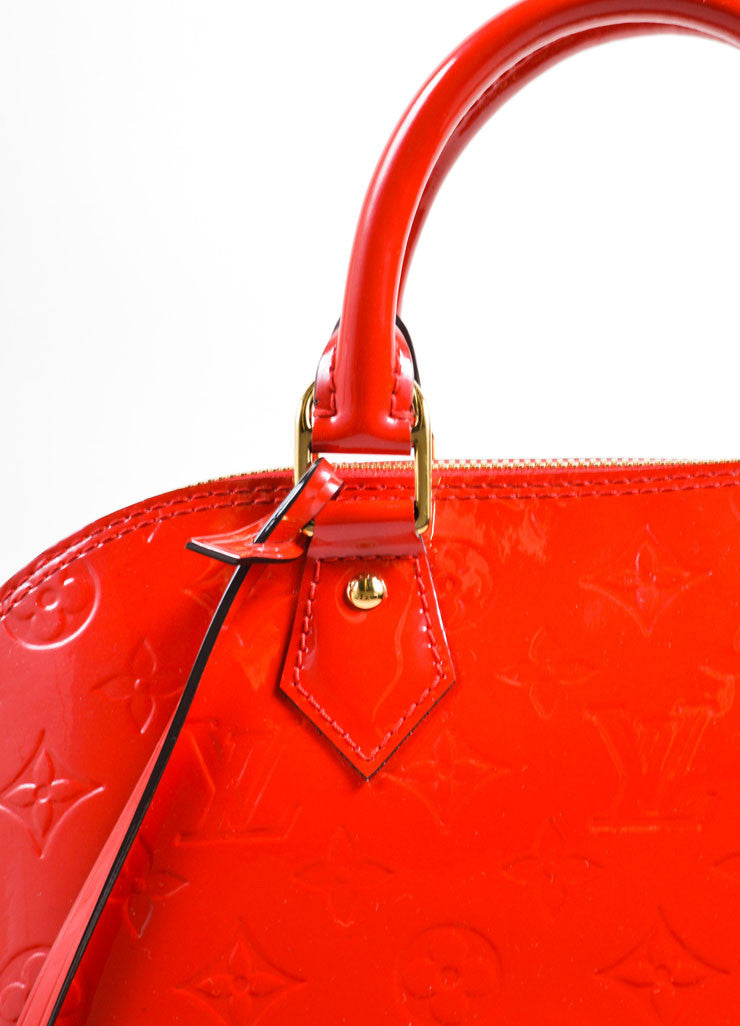 "Louis Vuitton Red Varnis Patent Leather Monogram ""Alma PM"" Satchel Handbag Detail 2"
