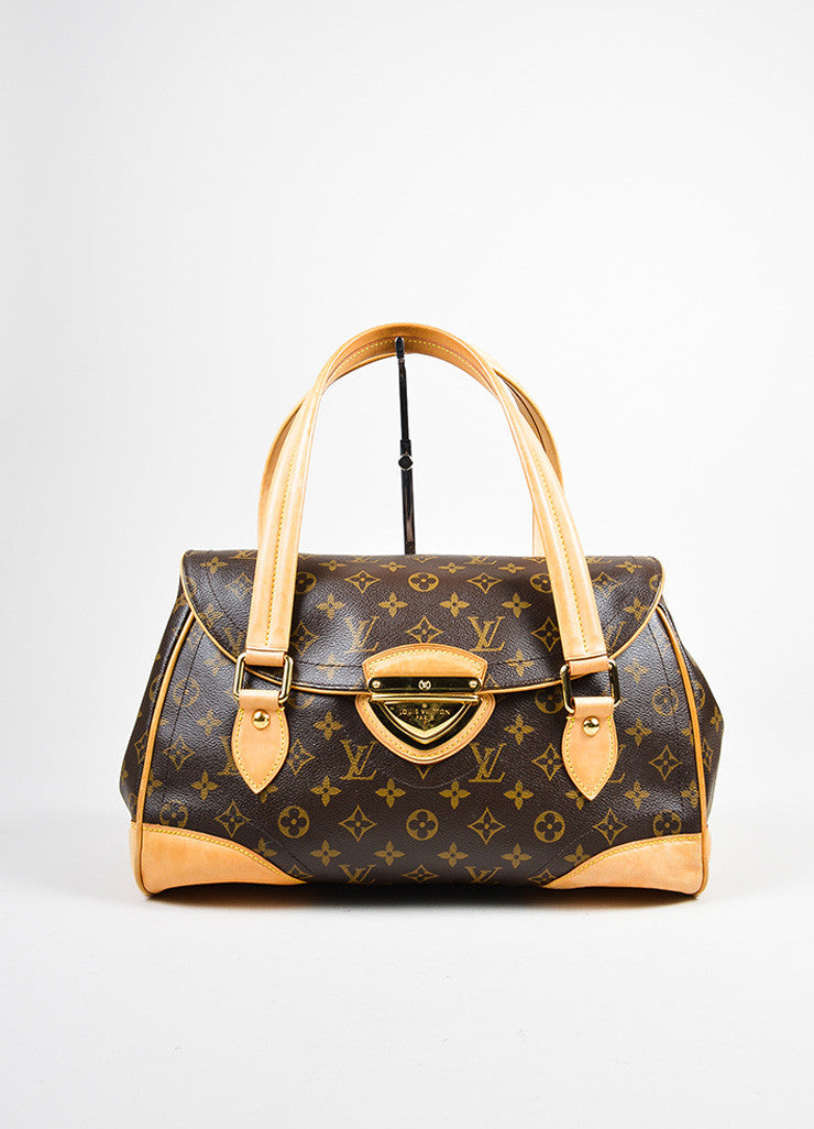 "Brown and Tan Louis Vuitton Coated Canvas Monogram ""Beverly GM"" Satchel Bag Frontivew"
