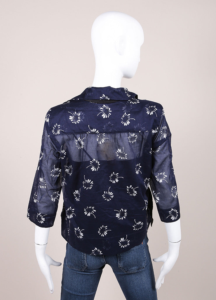 Marc Jacobs New With Tags Navy and White Floral Print Quarter Sleeve Cotton Blouse Backview