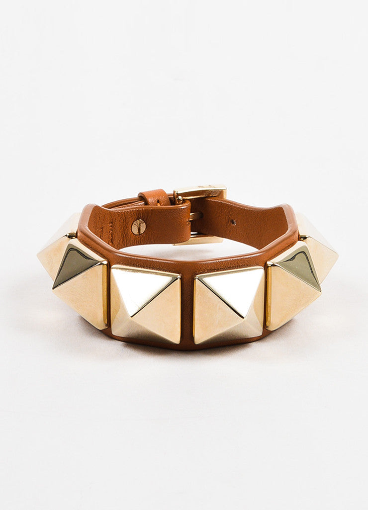 "Valentino Brown and Gold Toned Leather ""Va Va Voom Rockstud"" Buckle Bracelet frontview"