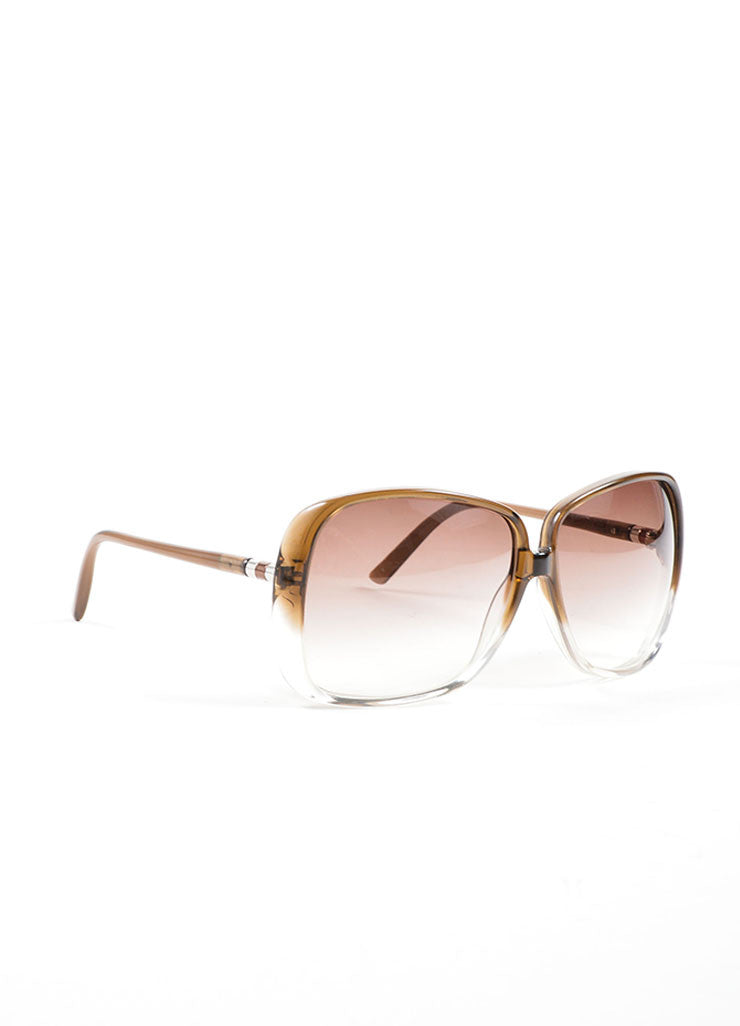 Brown Ombre Oversized Square Frame Sunglasses Side