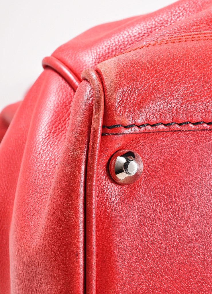 Balenciaga Red and Silver Toned Turnlock Clasp Grained Leather Shoulder Bag Detail