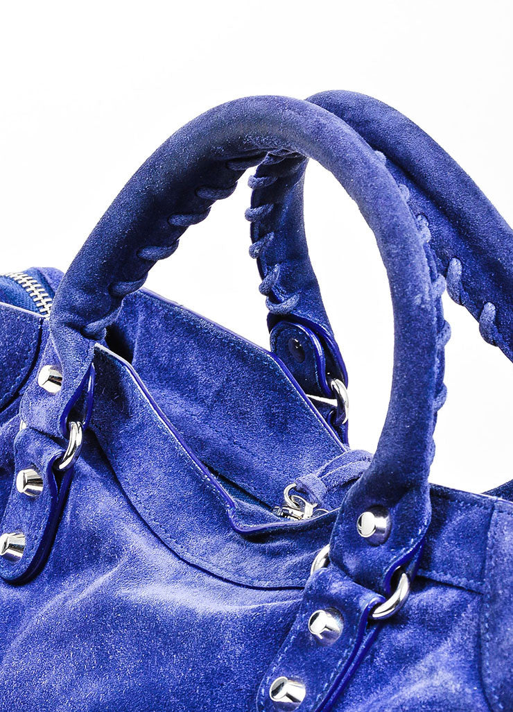 "Sapphire Blue Balenciaga Suede Leather ""Classic City"" Satchel Bag Detail 2"
