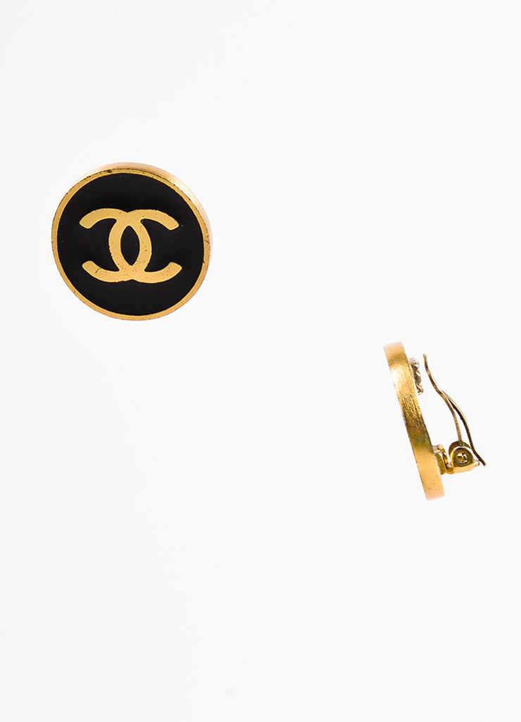 Chanel Gold Toned and Black Enamel Coated 'CC' Round Clip On Earrings Sideview