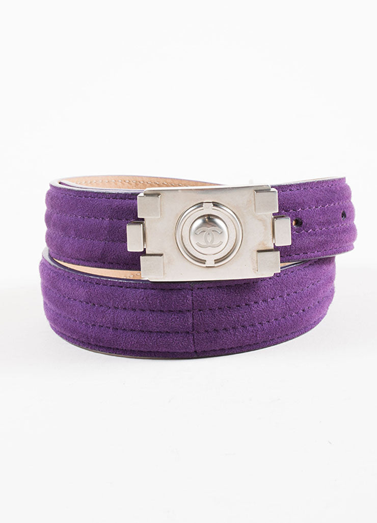 "Chanel Purple and Silver Toned Suede Lego ""CC"" Logo Notch Waist Belt Frontview"
