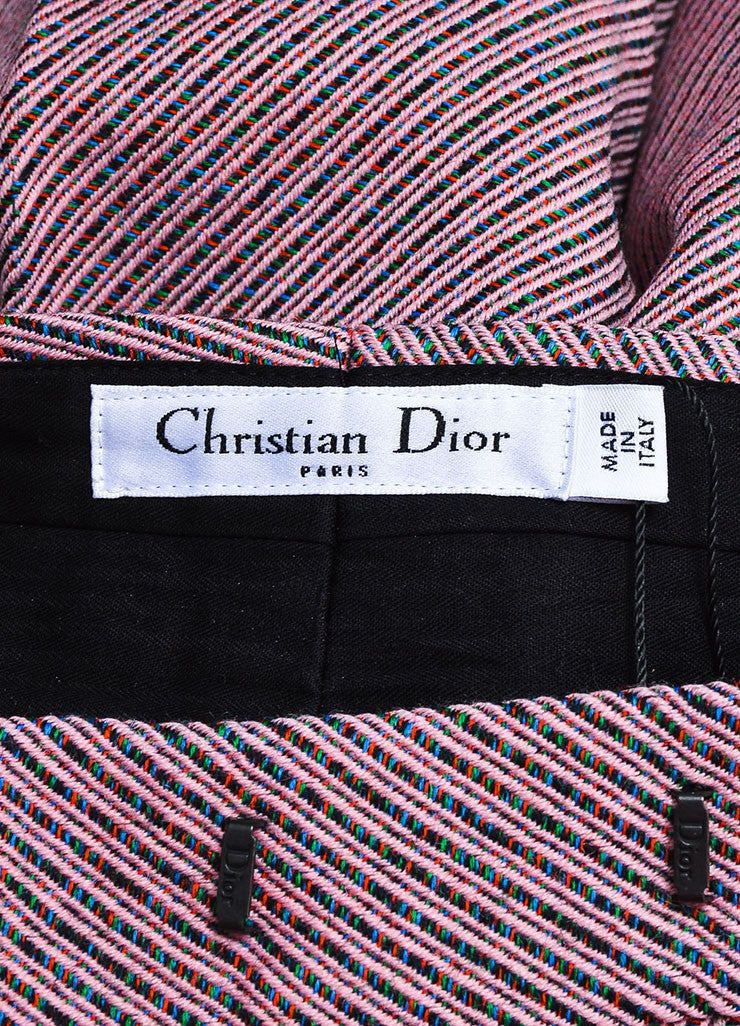 Pink Multicolor Christian Dior Wool Stripe Wide Leg Trouser Pants Brand