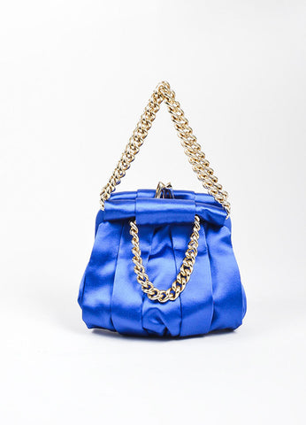 "Christian Louboutin Blue and Gold Toned Satin Chain ""'Loubinette'"" Pouch Bag Frontview"