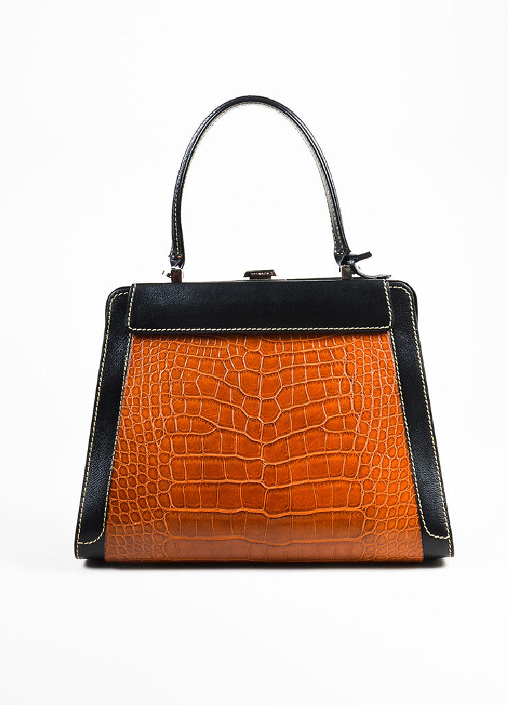 "Delvaux Black, Brown, and Cream Alligator Leather Changeable Panel ""Illusion"" Bag Frontview 4"