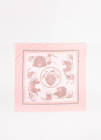 "Hermes Pink and Grey Silk ""Ex Libris"" Carriage Print 90cm Square Scarf"
