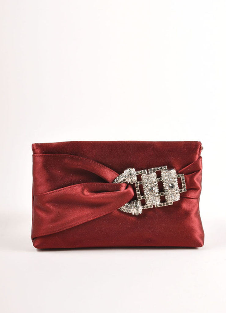 "Judith Leiber Wine Red Embellished Buckle Satin ""Serena"" Clutch Bag Backview"