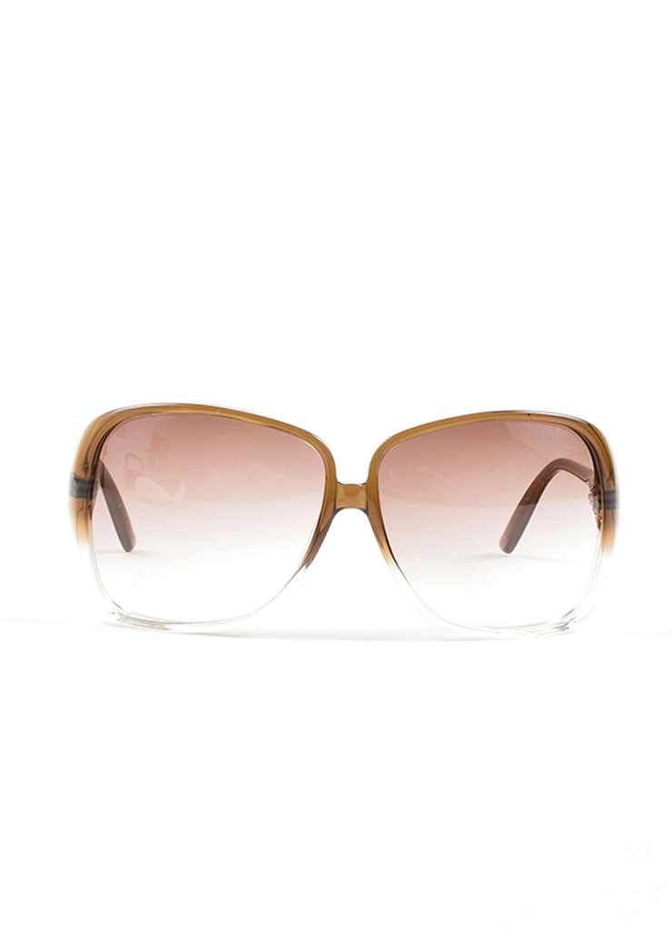 Brown Ombre Oversized Square Frame Sunglasses Front