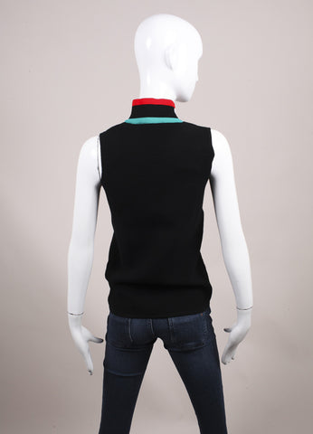 Derek Lam New With Tags Black and Multicolor Color Block Mock Turtleneck Sleeveless Top Backview
