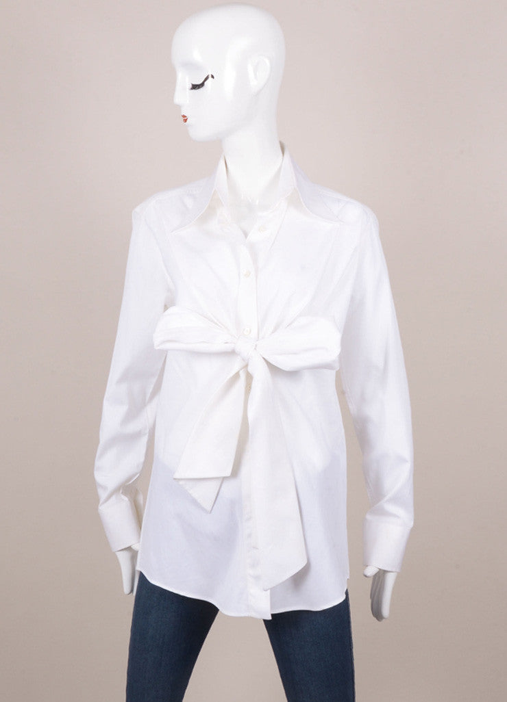 White Dolce & Gabbana Tie Detail Long Sleeve Button Up Blouse