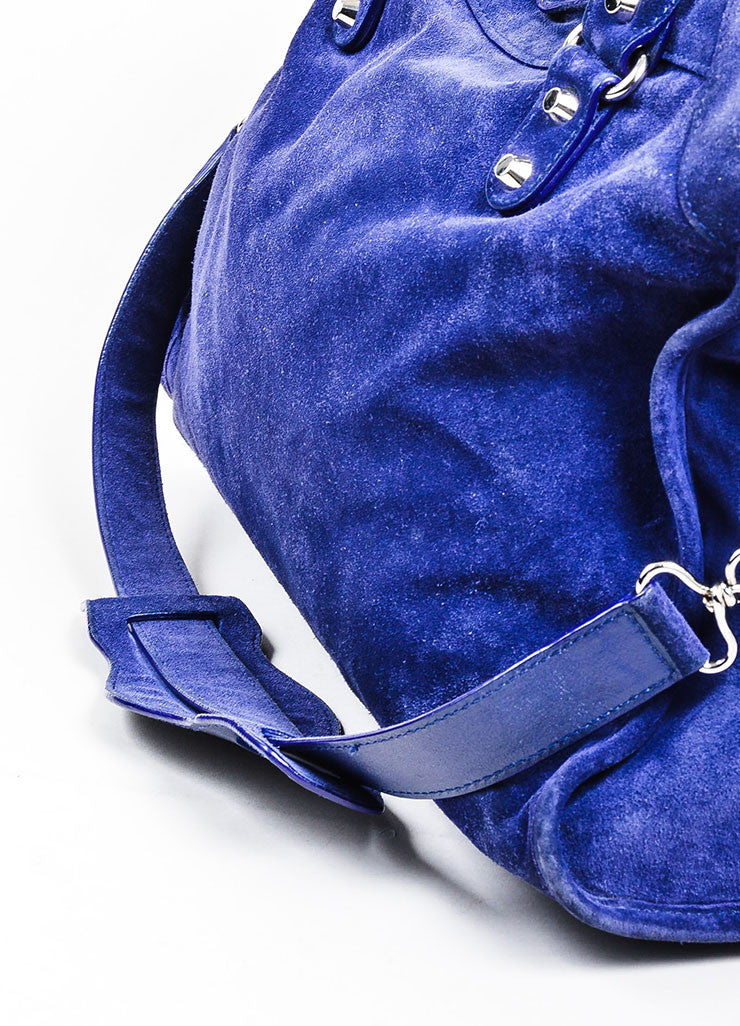 "Sapphire Blue Balenciaga Suede Leather ""Classic City"" Satchel Bag Detail 3"