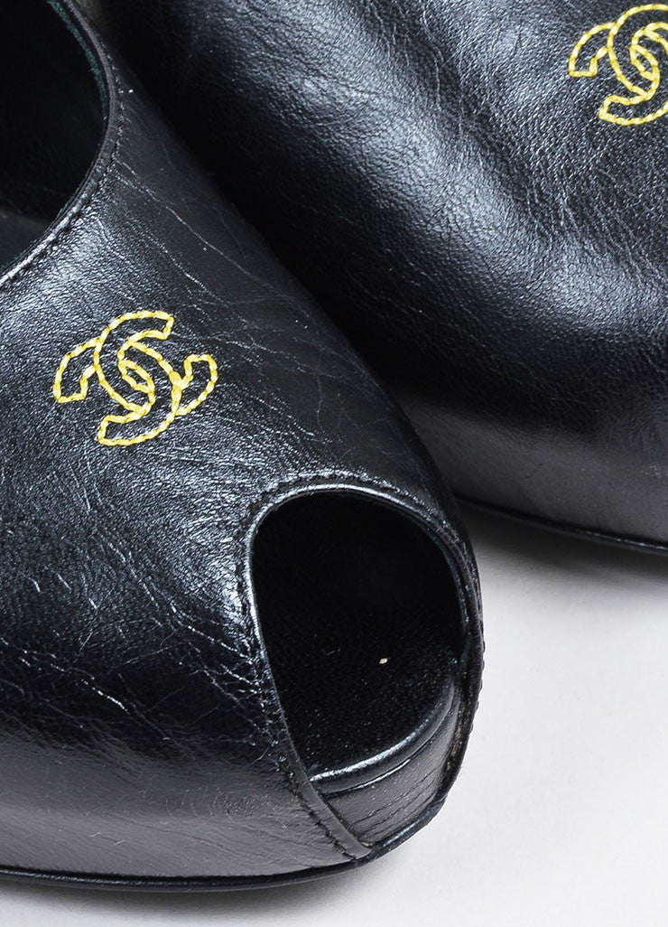 Black and Yellow Leather Chanel 'CC' Peep Toe Platform Pumps Detail