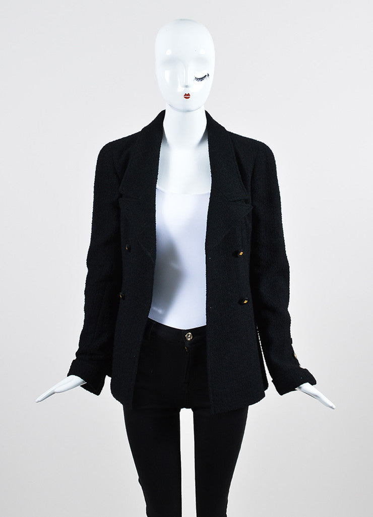 Black Chanel Wool Tweed Double Breasted 'CC' Buttoned Jacket Frontview