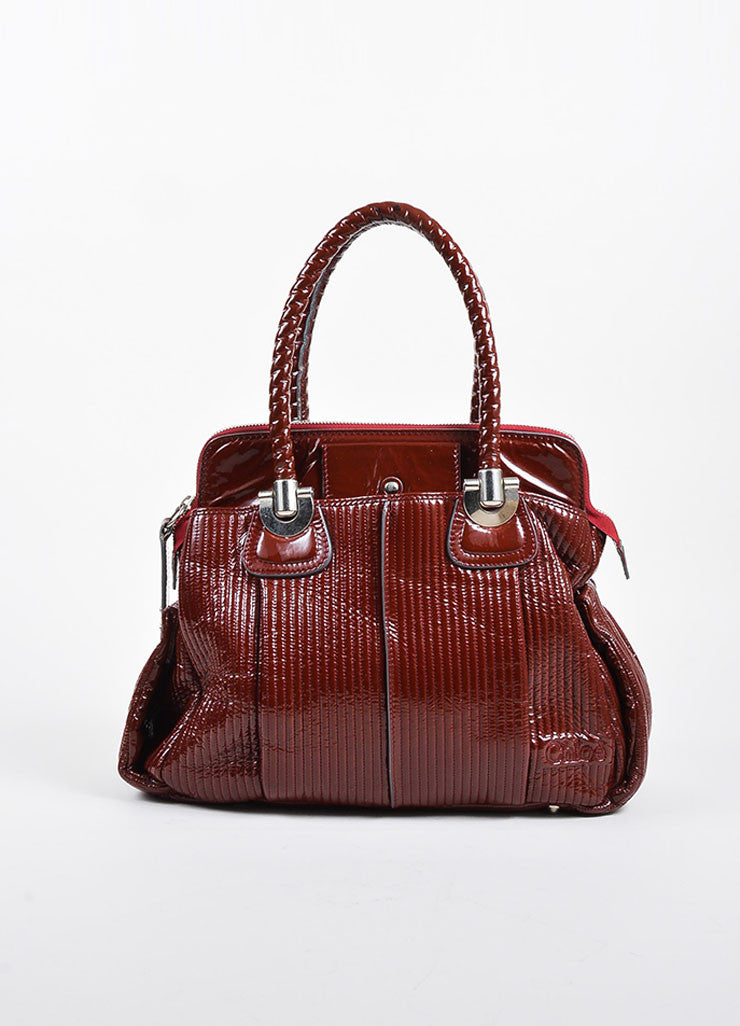 "Chloe Red Quilted Patent Leather ""Heloise"" Large Zip Tote Bag Frontview"