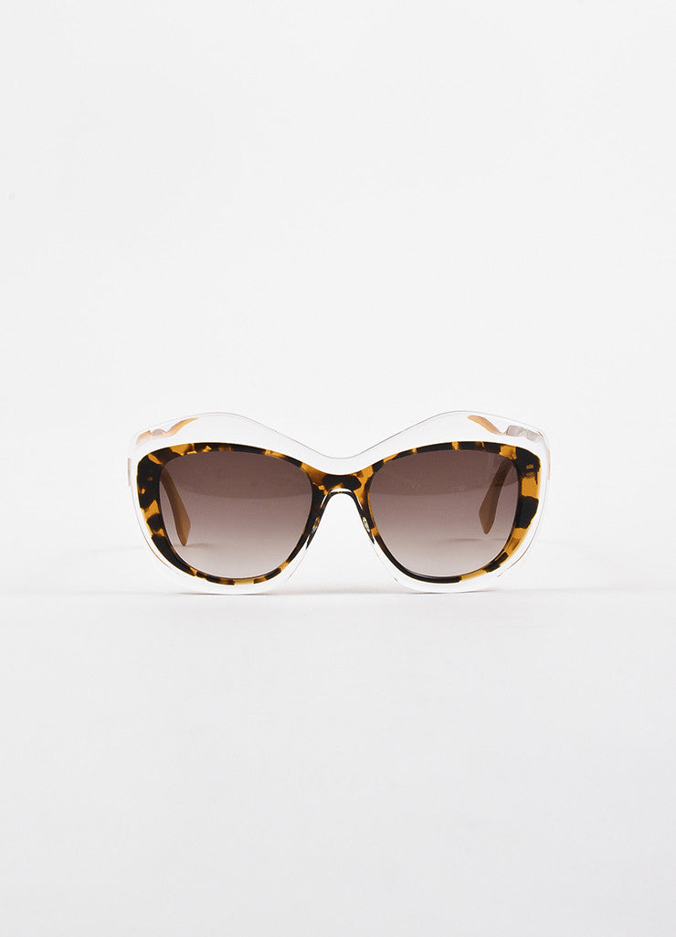 "Fendi Translucent Tortoise Gold Toned Retro Cat Eye ""OO29 S"" Sunglasses frontview"