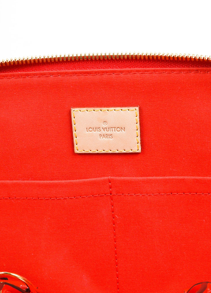 "Louis Vuitton Red Varnis Patent Leather Monogram ""Alma PM"" Satchel Handbag Brand"